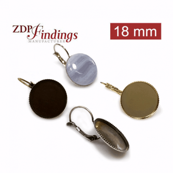Round 18mm Leverback Earring Setting