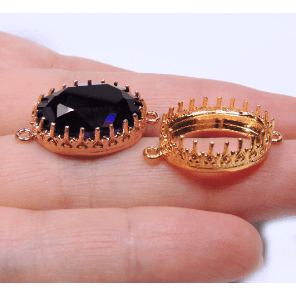 18x13mm Oval Crown Bezel Tray Setting Connector fit Swarovski 4120