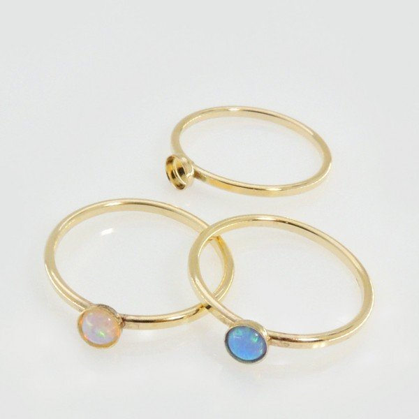 4mm Round Bezel on Ring,  Gold Filled. Choose your size.