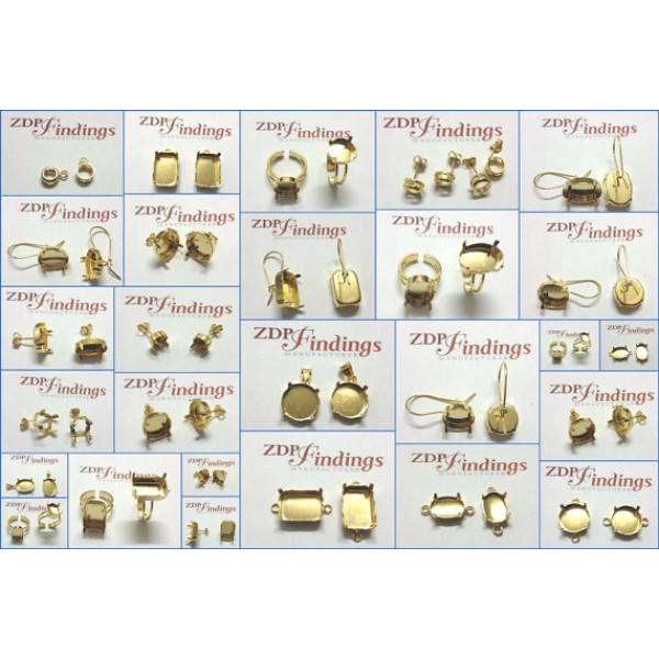 18x13mm Gold Plated Bezel Cup