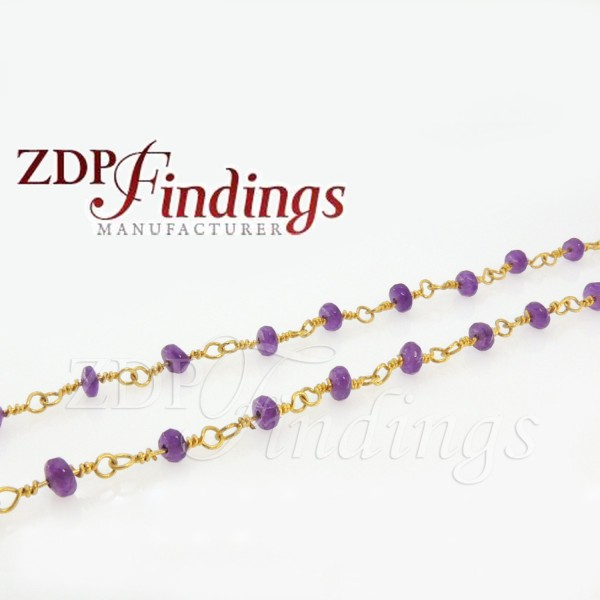 4mm Rondelle Amethyst color beads Chain
