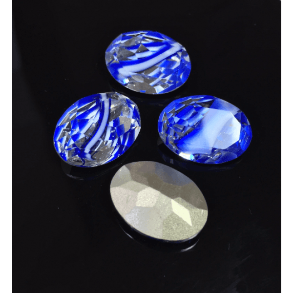 Oval 18X13mm Czech Crystals fit Swarovski 4120-Blue
