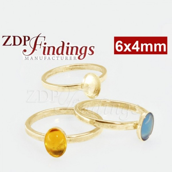 6x4mm Oval Bezel on Ring,  Gold Filled. Choose your size.