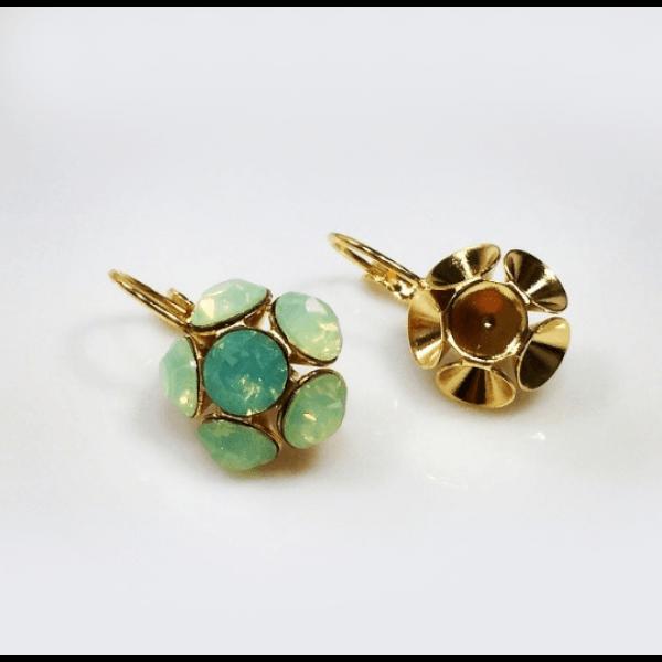 Flower Dangle Earring bases For Gluing Swarovski SS34-Shiny Gold