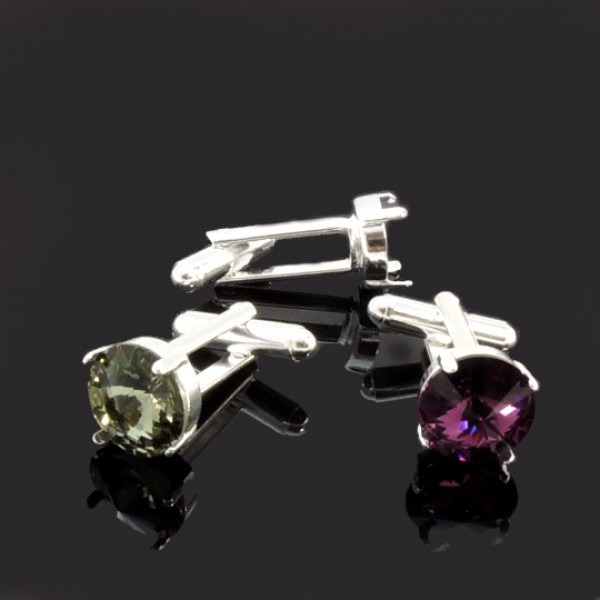 Cufflinks with Round 12mm Settings fit Swarovski 1122