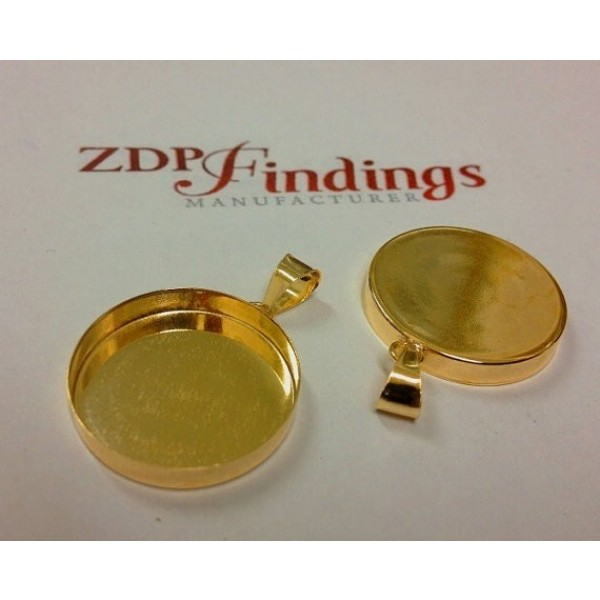 18mm Round Gold Filled Bail Bezel Cup