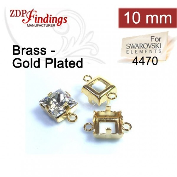 4477 Square 10mm Connector, Shiny Gold
