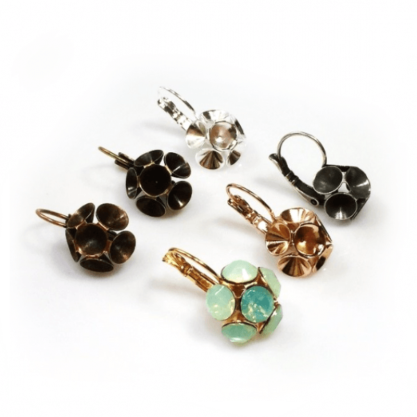Flower Dangle Earring bases For Gluing Swarovski SS34-Antique Brass