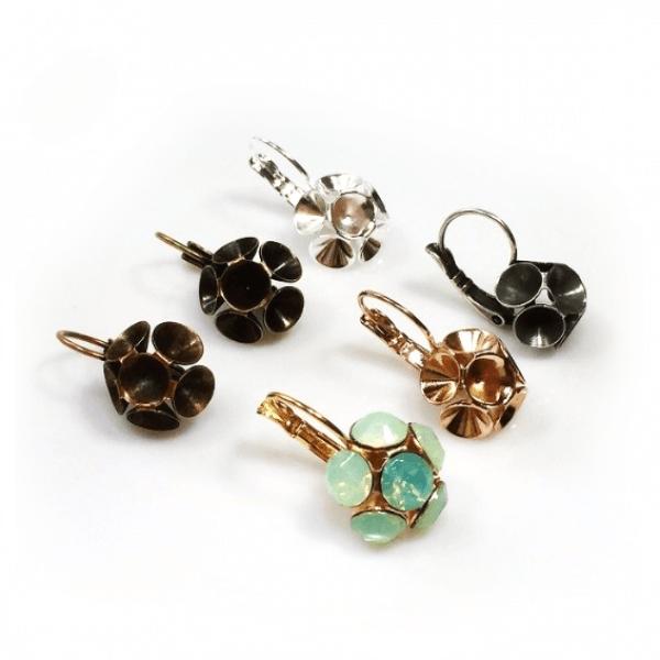 Flower Dangle Earring bases For Gluing Swarovski SS34-Antique Copper
