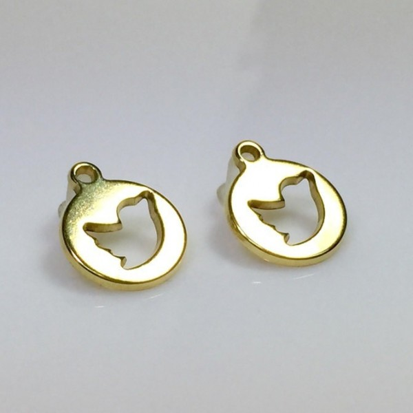12mm Round Shiny Gold Charms