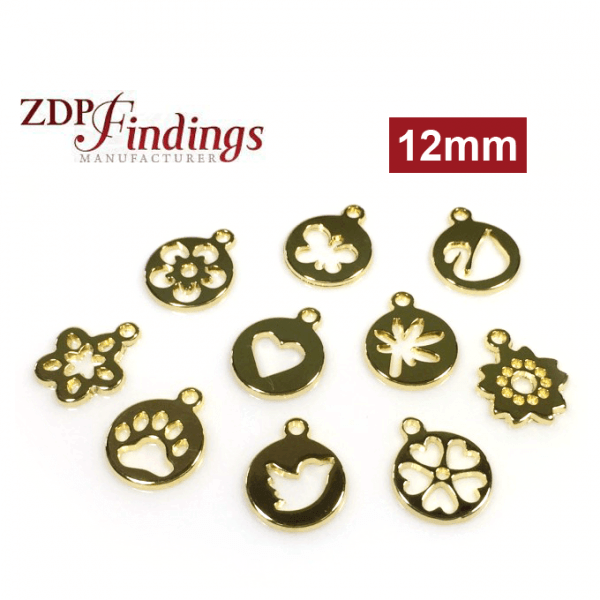 Round 12mm Leaf Charm Disc Pendant