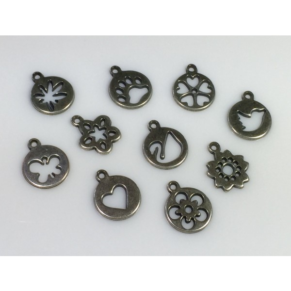 12mm Round Antique Silver Charms