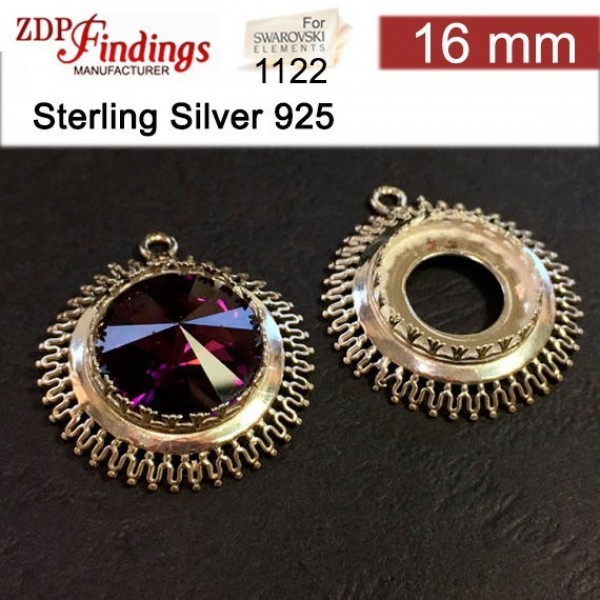16mm Round 925 Sterling silver Bezel