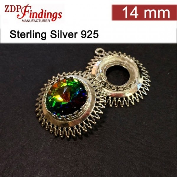 14mm Round 925 Sterling silver Bezel