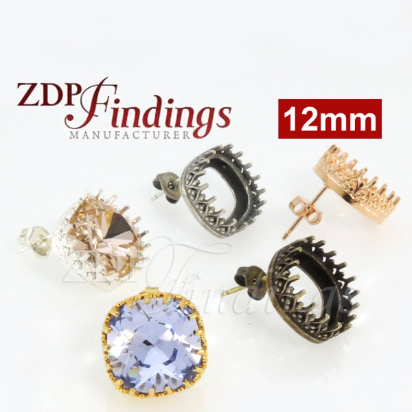 12mm Square Bezel  Earring for Swarovski 4470