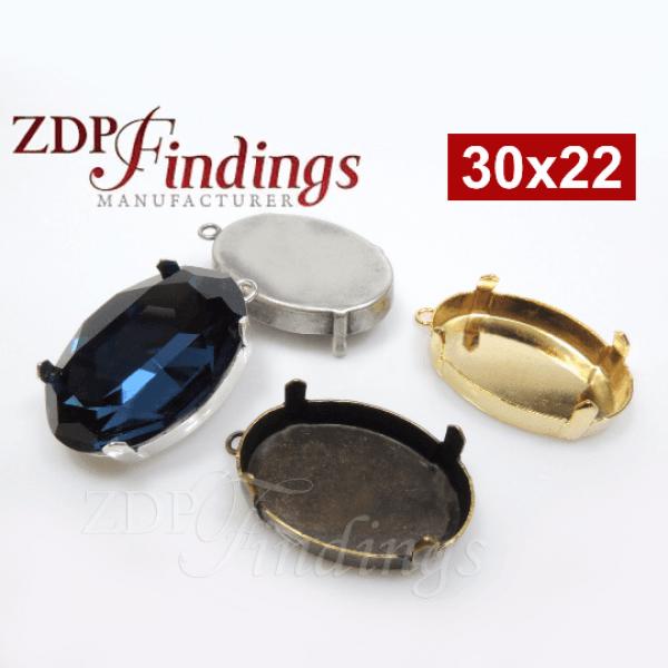 30x22mm Oval Pendant Bezel Fit Swarovski 4547 Crystal