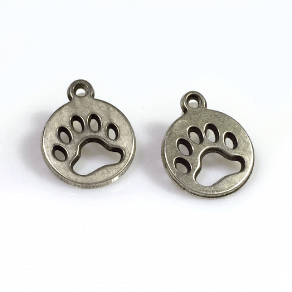 Round 12mm Open Dog Paw Charm Disc Pendant