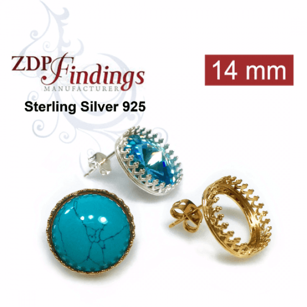 14mm Round Bezel Silver 925 Earrings