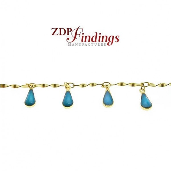 2.3mm Brass with Enamel Turquoise Hanging Drops