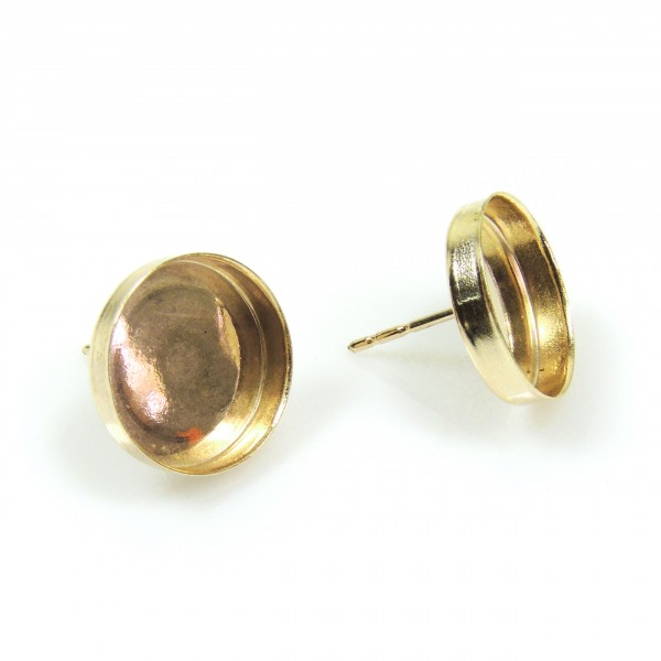 15mm Round Gold Filled Bezel Post Earrings