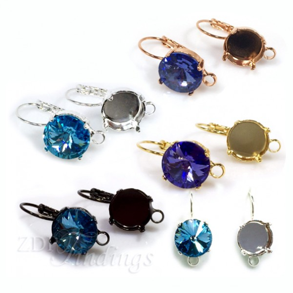 Round 12mm Earrings Setting fit Swarovski 1122