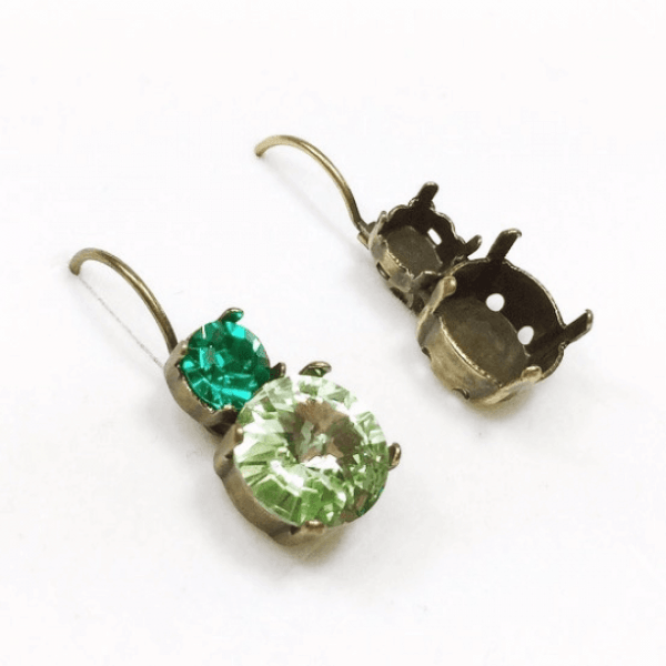 Round Bezel Earrings Fit Swarovski SS29 and SS47
