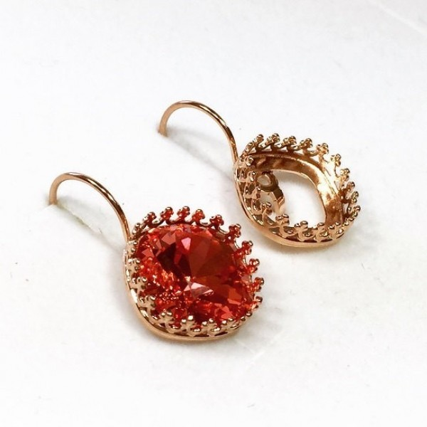 12mm Leverback Earring, Rose Gold