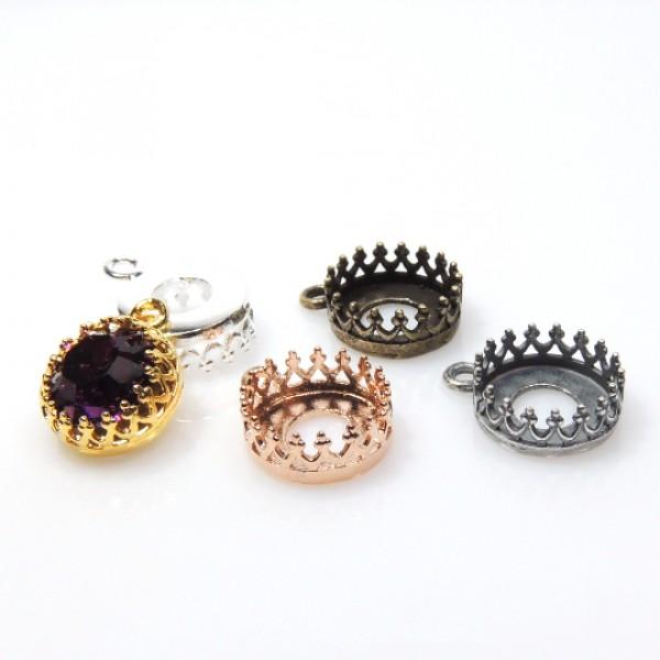 Round Bezel Setting Pendant fit Swarovski SS39 Crystals-Rose Gold