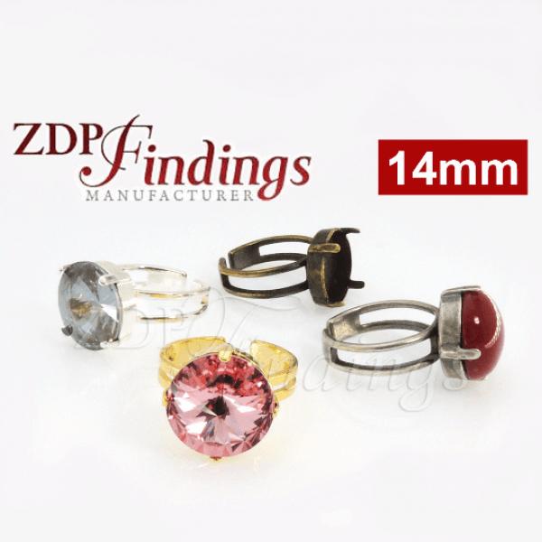 Round Adjustable Ring Bezel Setting fit 14mm Swarovski Rivoli 1122