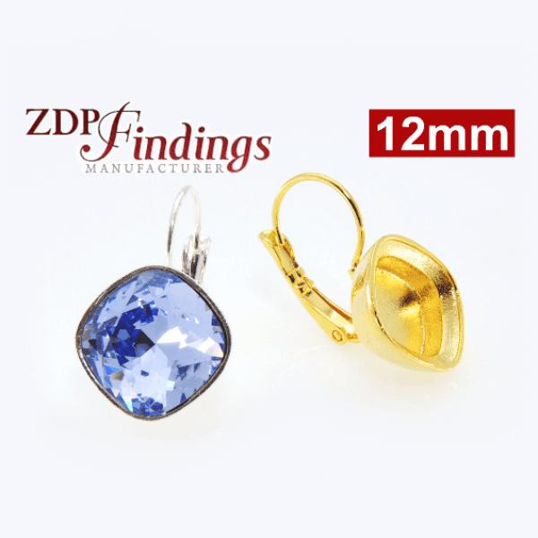 Square 12mm Bezel Earrings For Gluing Swarovski 4470