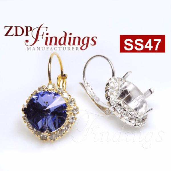 ss47 1122 Swarovski Lever back Rhinestone Earrings