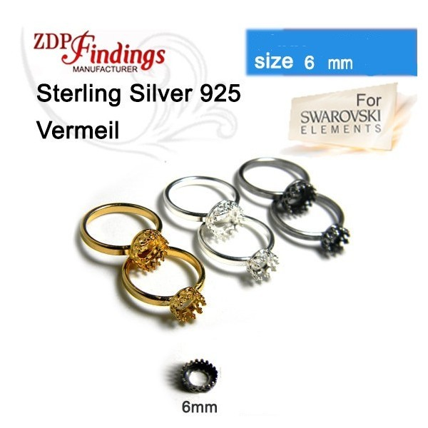 6mm Round Crown Bezel Ring Vermeil on Silver 925
