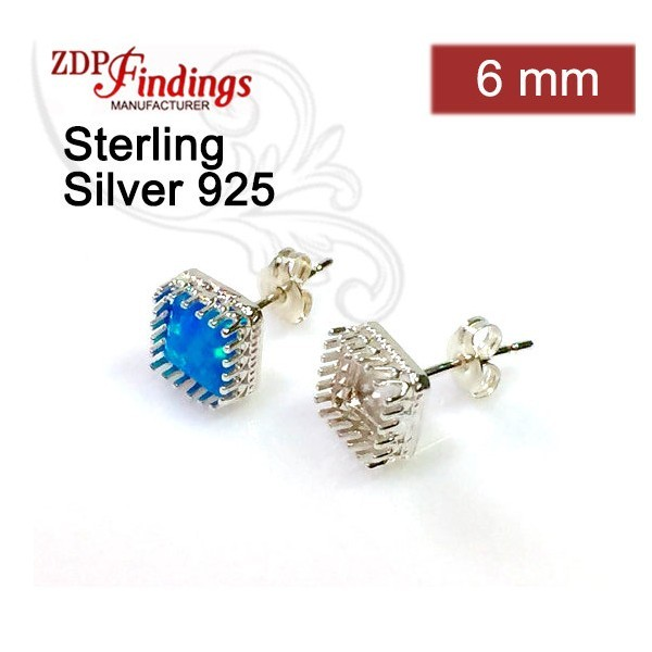 6mm Post Earring, 925 Sterling silver