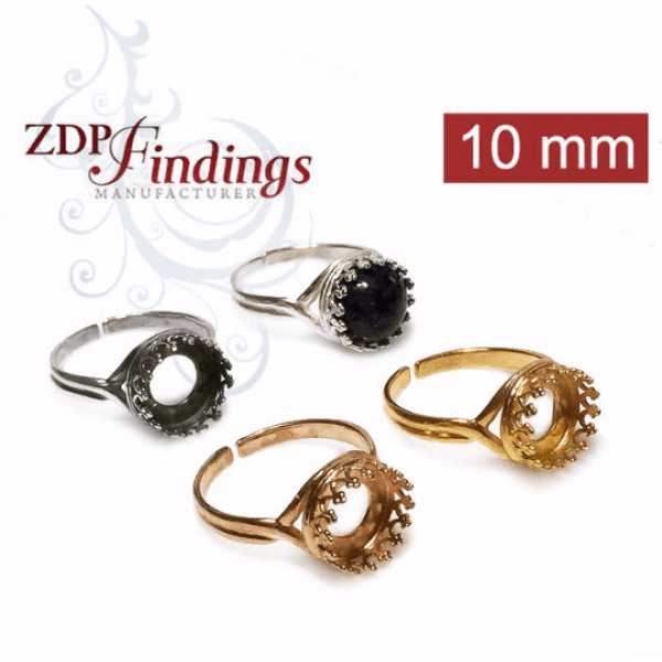 10mm Round Sterling Silver 925 Adjustable Ring