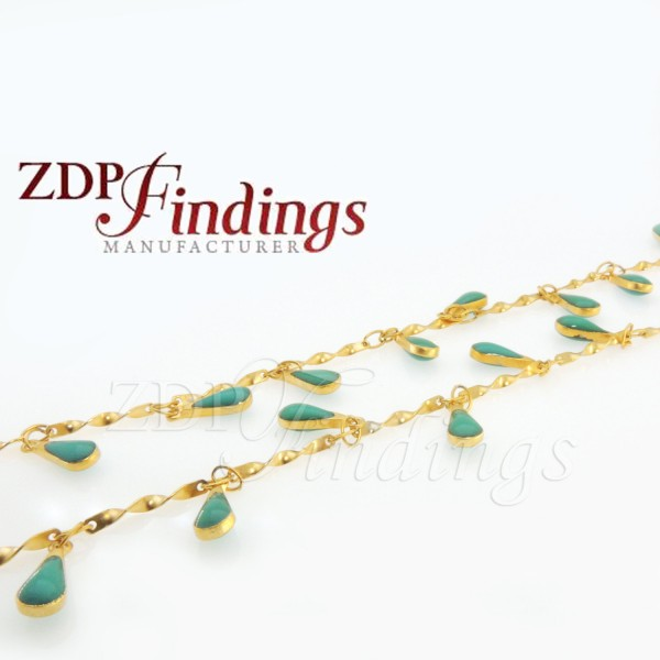 4x9mm Turquoise color Rosary Chain