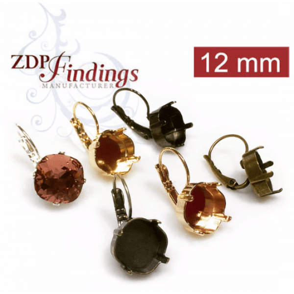 Square 12mm Lever Back Earring Setting Fit Swarovski 4470