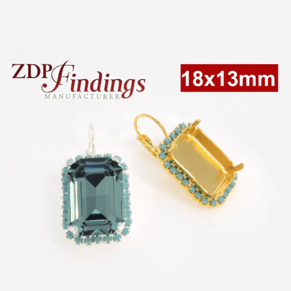 Octagon 18x13mm Turquoise Earrings Setting fit Swarovski 4610