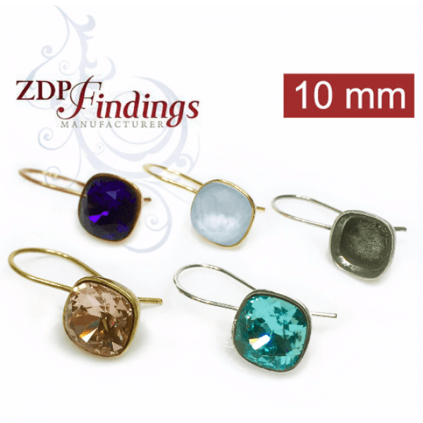 Square 10mm Bezel Earrings Fit Swarovski 4470