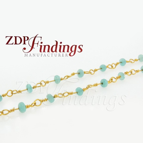4mm  Rondelle Turquoise color beads Chain Wire Wrapped