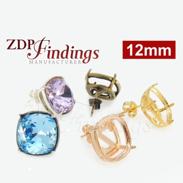 12mm Square Bezel Earring 925 Silver Post for Swarovski 4470