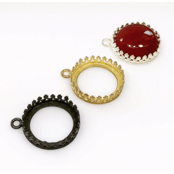 16mm Round Brass Bezel, choose your finish.