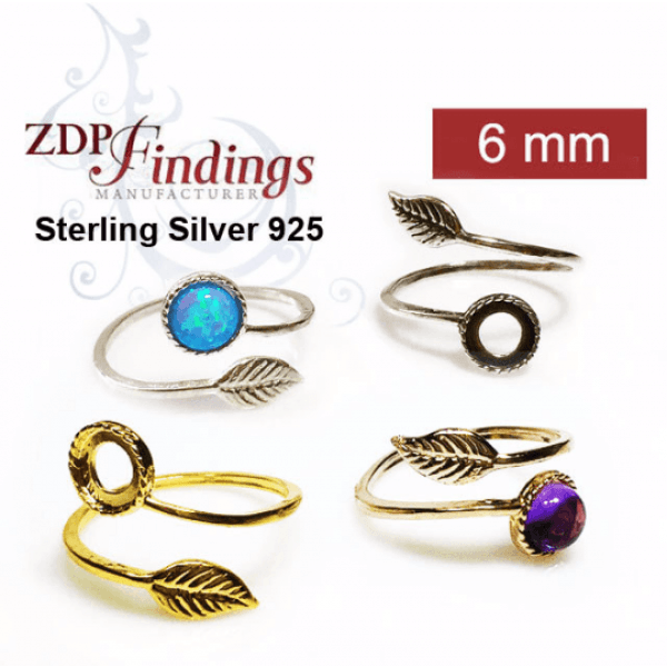 Sterling Silver 925 Round 6mm Bezel Settings Adjustable Ring.