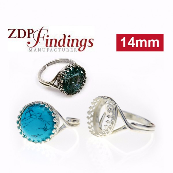 14mm Round Ring Base Sterling silver 925