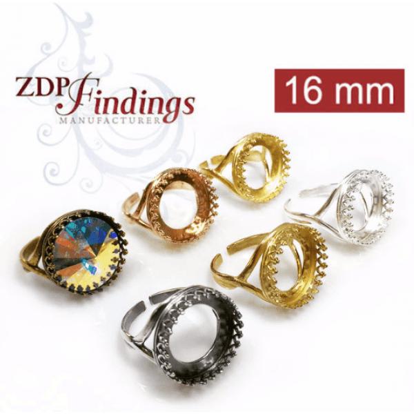 16mm Adjustable Round Ring Base Shiny Silver.