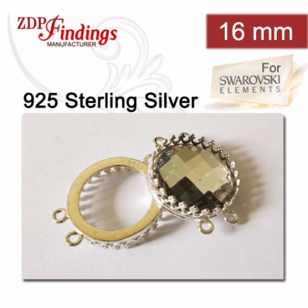 16mm Round 925 Sterling silver Bezel, choose your finish.