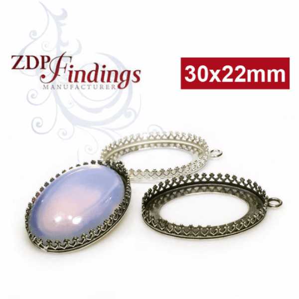 30x22mm Oval 925 Sterling silver Bezel, choose your finish.