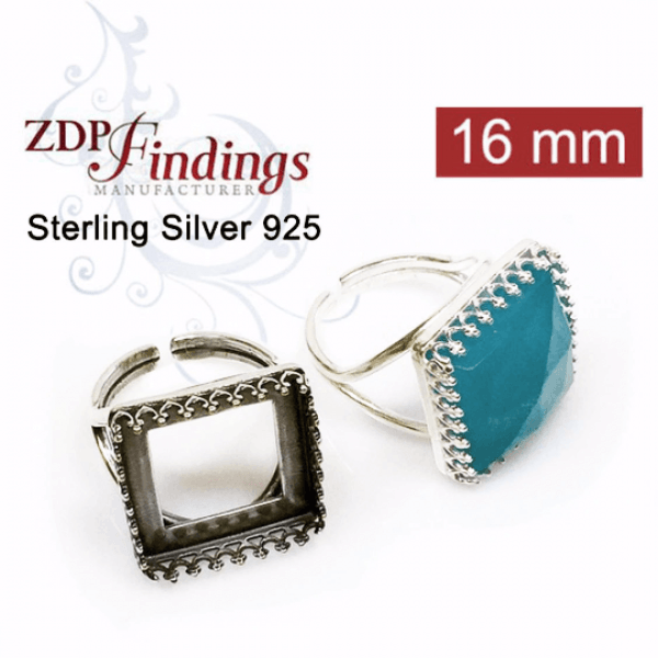 16x16mm Square Ring Base Sterling silver 925, Choose your finish.