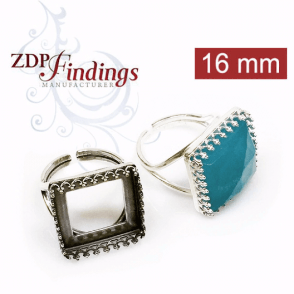 16mm Square Adjustable Ring Setting