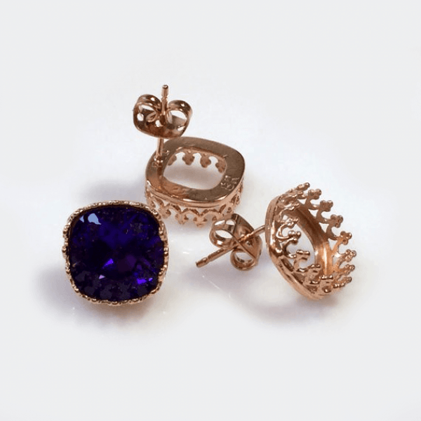 10mm Square Bezel Earrings 925 Silver Post Fit Swarovski 4470-Rose Gold