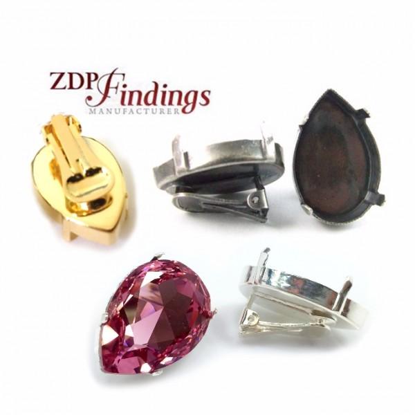 Pear 30x20mm Clip on Earrings Settings Fit Swarovski 4327